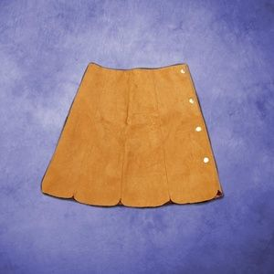 Faux Suede Skirt With Button On The Side